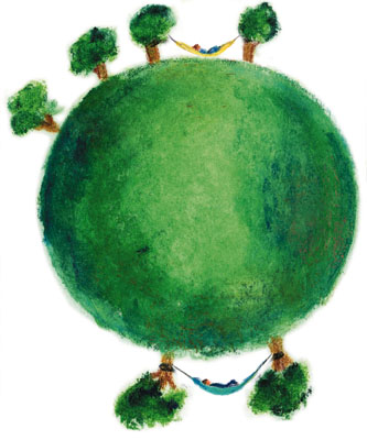 image shows a globe with two hammocks. Design made for the location, flexibility in solution.