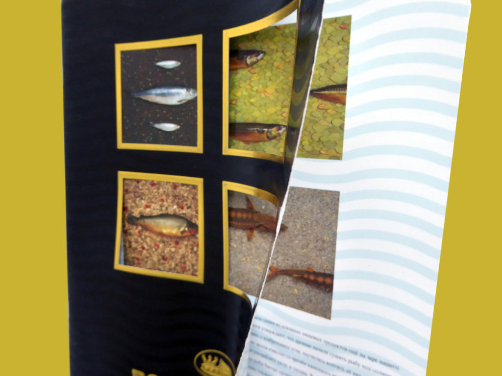 Cutouts, matt and gloss varnishes plus gold foil on cover of Royal Baltic brochure